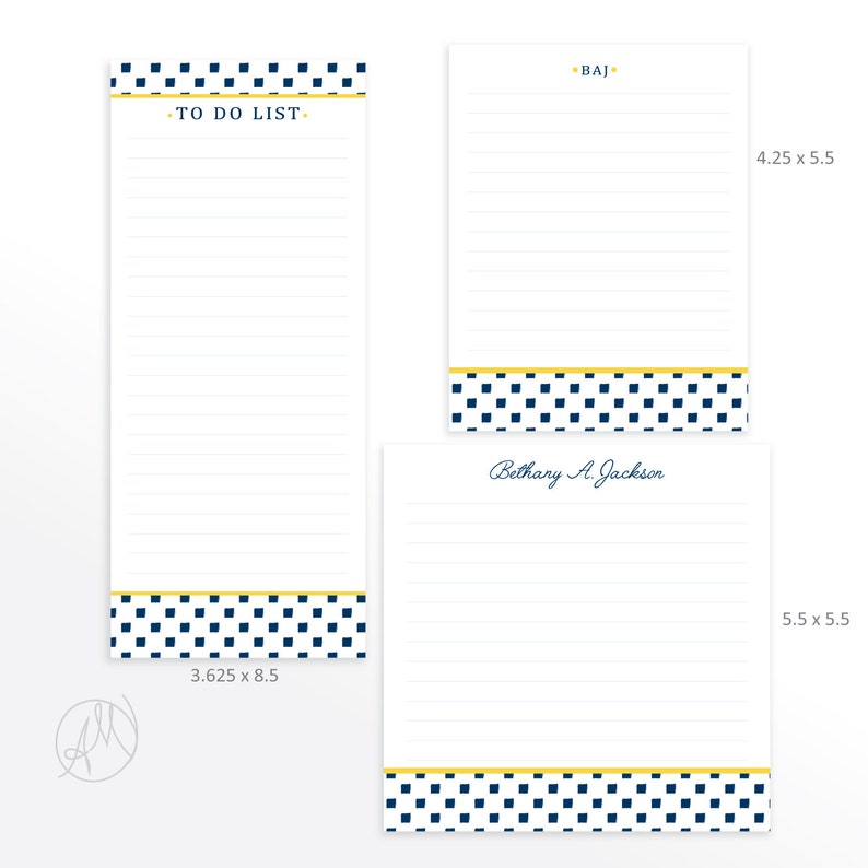 Custom Monogrammed Notepad Stationery Set Personalized Desk image 0