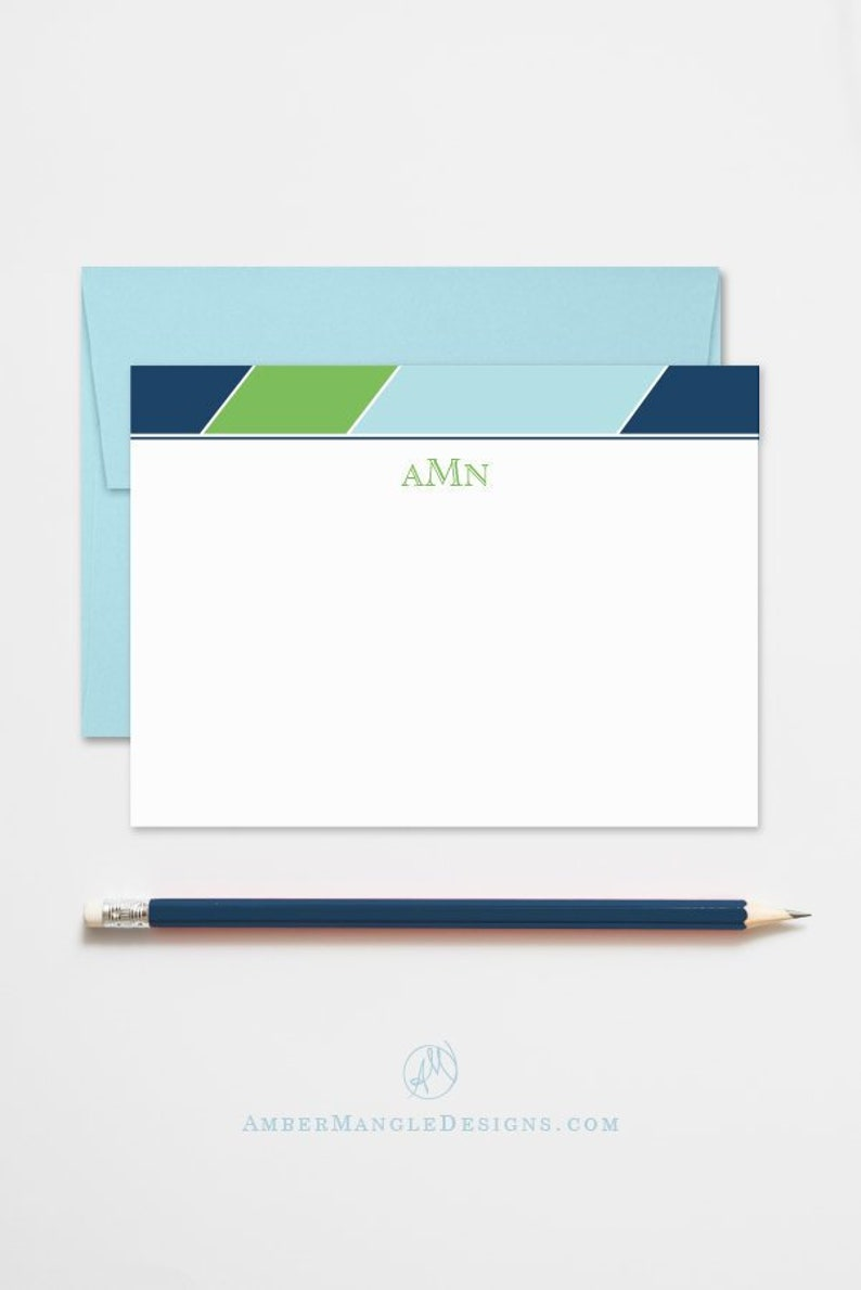 Monogrammed Stationery Set Flat Note Cards Personalized with image 0