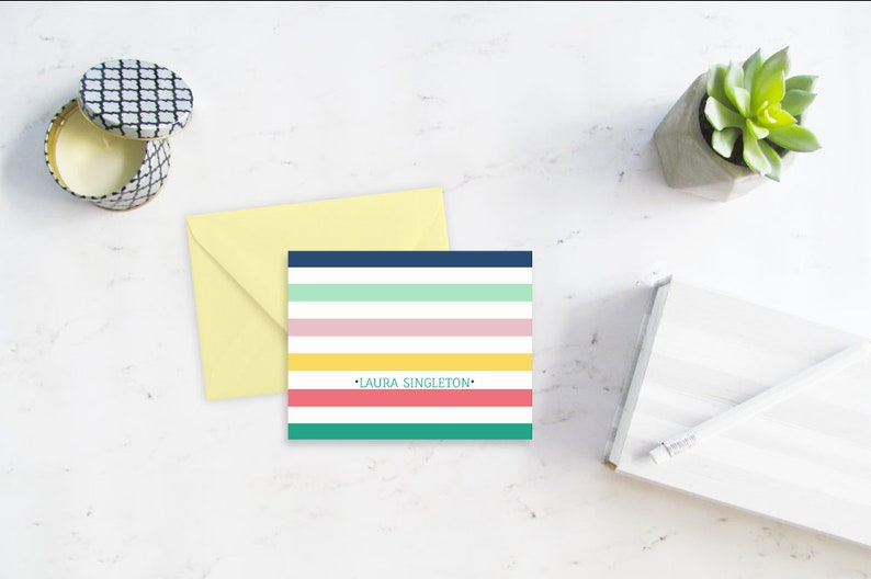 Note Cards Personalized Stationery Folded Personalized Note image 0