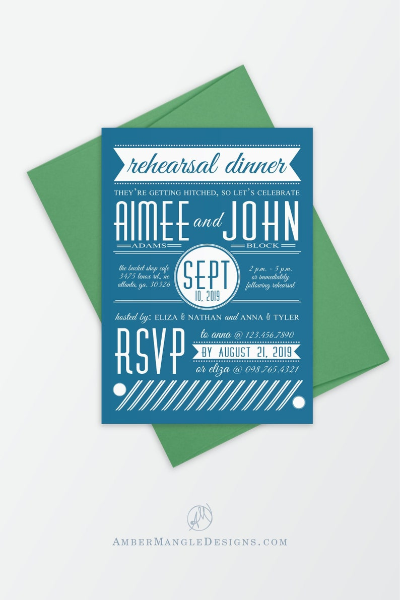White and Blue Wedding Rehearsal Dinner Invitation Classic image 0