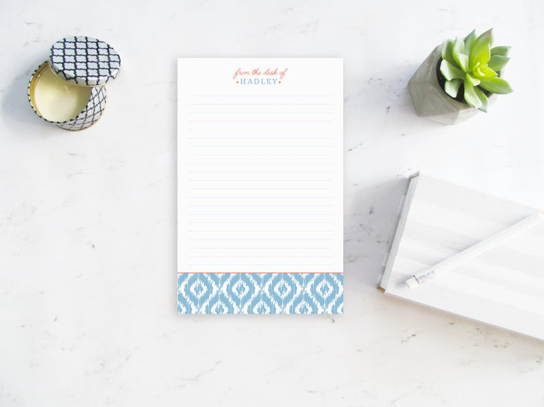 Note pad Personalized Bridesmaid Gift Preppy Notepad From the Desk of Notepad Gifts for her Personalized Notepad Custom Stationery