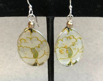 Delicate Oval Resin and Japanese Paper Earrings (olive/black/gold)