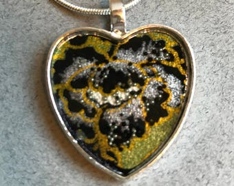 Heart Necklace Resin and Japanese Paper (olive/black/gold rose)
