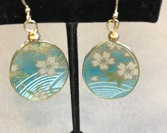 Light Blue/Gold Oval Resin and Japanese Paper Earrings