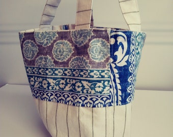 Custom Designed Floral and Stripe Tote,Carry Bag,Book Tote,Shopping Bag,Canvas and Blue Waverly Cotton,Inside Pocket,Ready to Ship.