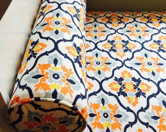 """Two Bolsters,6"""" x 26"""",Bench Cushion Cover,24"""" x 71.5"""" x 3"""",Your Fabric Selection,Includes Piping and Zippers,You Pay Shipping.Made to Order."""