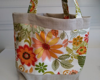"""Spring Floral Print Tote with Sunbrella Fabric,18"""" x 14"""",Shopping Bag,Carry Books,Groceries,Inside Pockets,Ready to Ship.You Pay Shipping."""