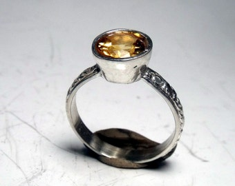 Sterling Silver Ring with Citrine Stone  RF535