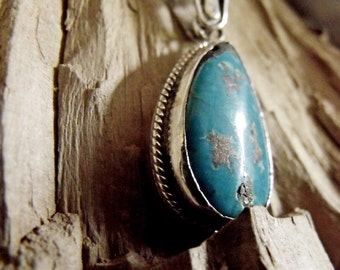 Sterling Silver Pendant with Turquoise Stone RF773