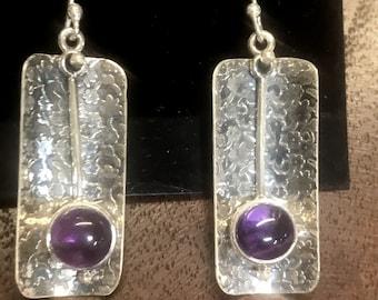 Amethyst Sterling Silver Dangle Earring RF045