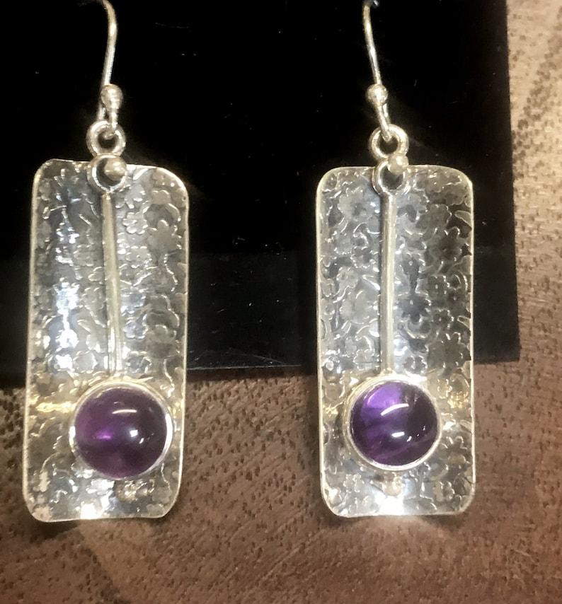 Amethyst Sterling Silver Dangle Earring RF045 image 0