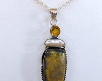 Stone Pearl Citrine Sterling Silver Pendant RF839