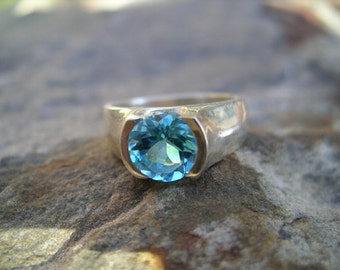 Blue Topaz and Sterling Silver Ring RF150