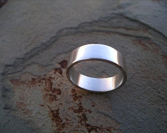 Wedding Band  - 6mm Flat - Sterling Silver -  RF373