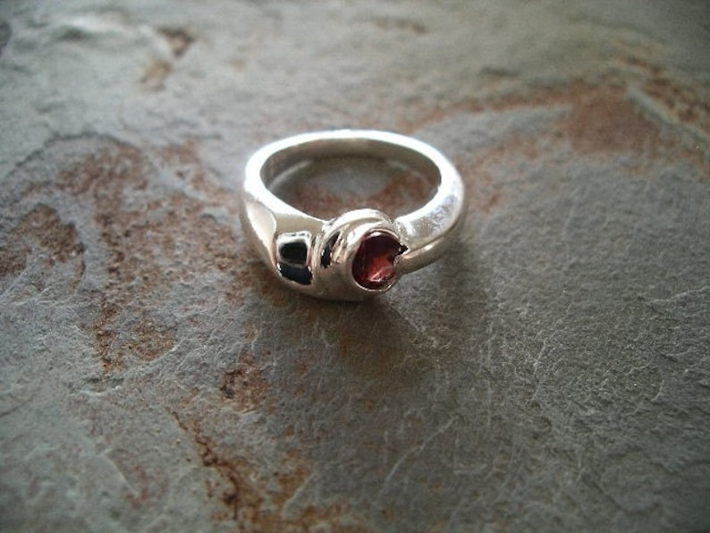 Ring  Red Zircon  custom center stone of choice  Sterling image 0