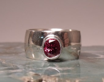 10mm Wide Sterling Low Dome Band with a 1 carat Oval Raspberry Tourmaline RF466