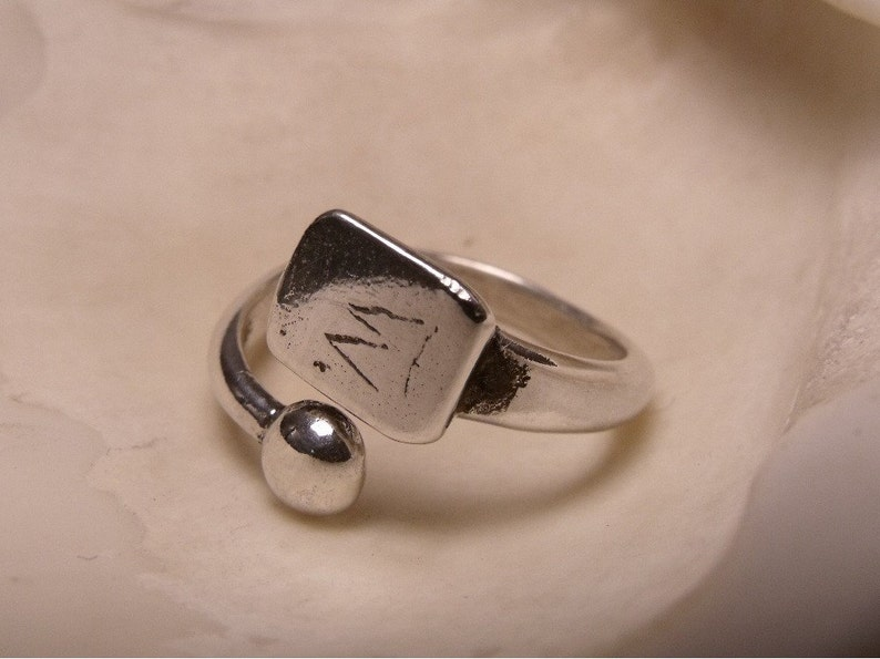 Pad Ring and Ball  Sterling Silver  Customize with Initial image 0