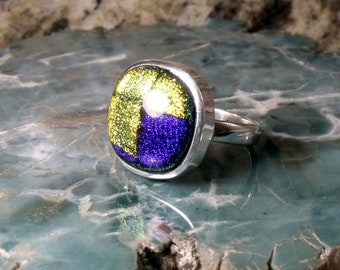 Dichroic Glass in Sterling Silver Ring RF007
