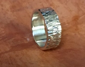 8mm Hammered Sterling Silver Flat Band RF427