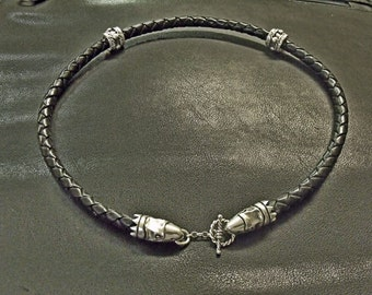Spartacus Harbinger of Death Choker Sterling Silver 8mm Leather RF580