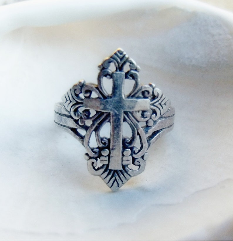 Cross Ring in Sterling Silver  RF008 image 0
