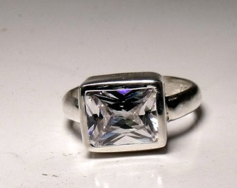 10mm X 8mm Cubic Zirconia in Sterling Silver Ring RF545