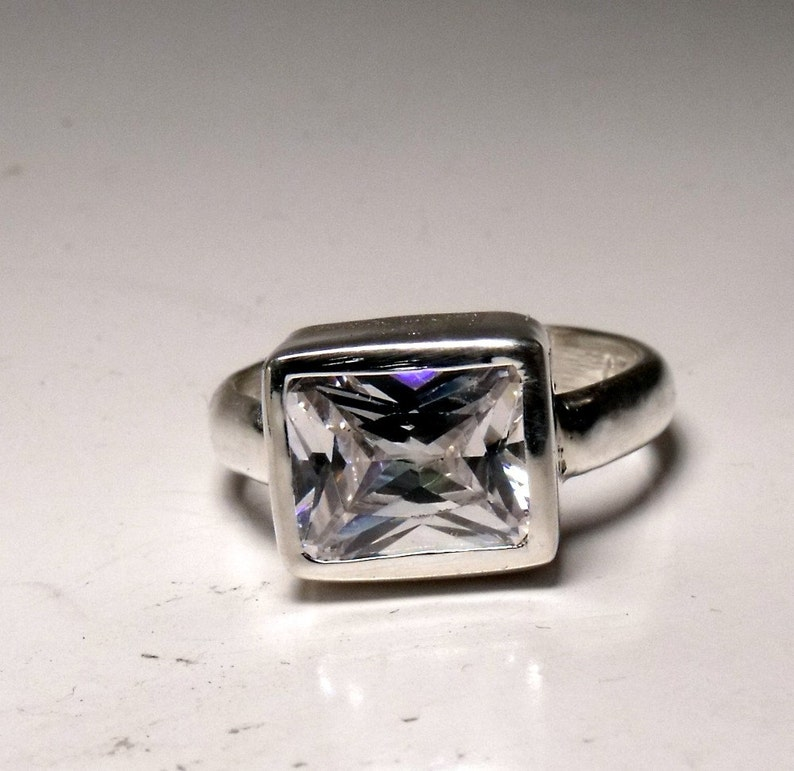 10mm X 8mm Cubic Zirconia in Sterling Silver Ring RF545 image 0