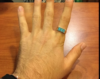 Harry Styles 3 Stone Inlay Turquoise Mens or Ladies Ring RF078