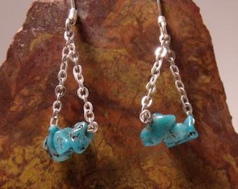 Turquoise Dangle Earrings in Sterling Silver RF038