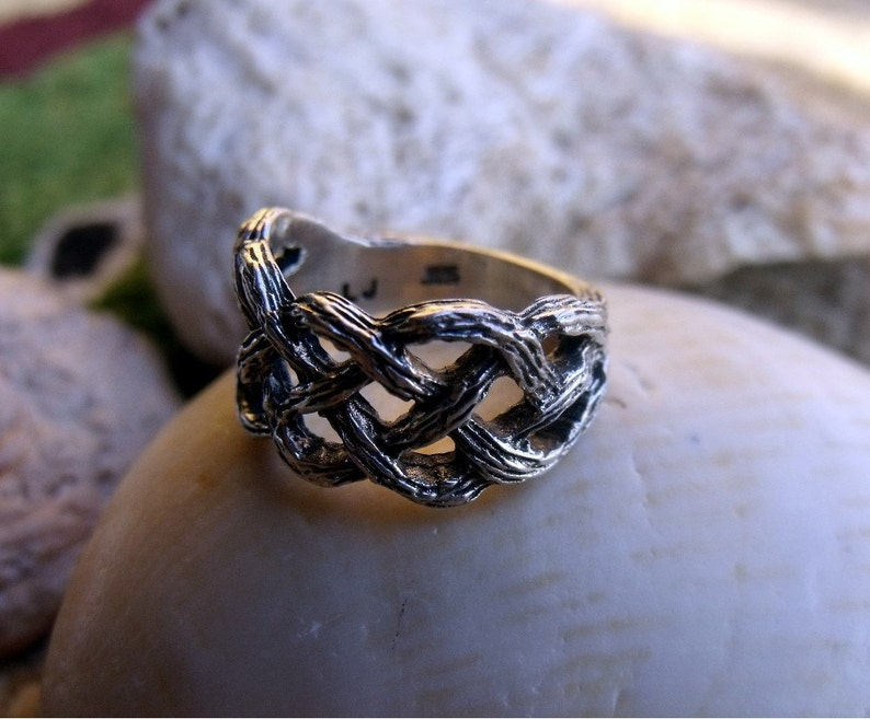 Freeform Bark Finish Ring in Sterling Silver RF018 image 0
