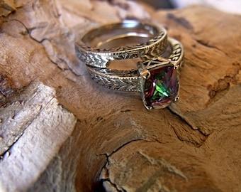14k White Gold with Mystic Topaz Wedding/Engagement set Ring RF013