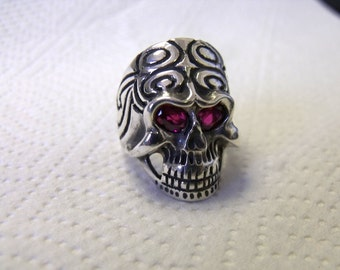 Skull Ring in Sterling Silver with Lab Created Ruby Eyes RF617