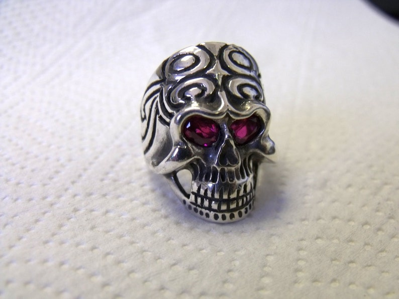 Skull Ring in Sterling Silver with Lab Created Ruby Eyes RF617 image 0