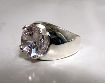 12mm Round Cubic Zirconia in Sterling Silver Ring RF552