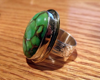 Green Turquoise with Bronz Matrix in Sterling Silver RF300