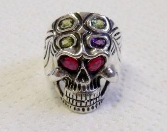Skull Ring Sterling Silver with Birthstones RF614