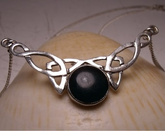 Celtic Pendant -Necklace- Center Blood stone- Sterling Silver - Beautiful - Unique- Eye Catching - Womens  RF101