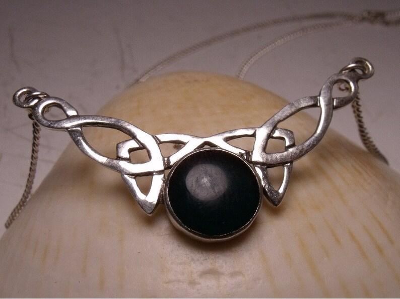 Celtic Pendant Necklace Center Blood stone Sterling Silver image 0