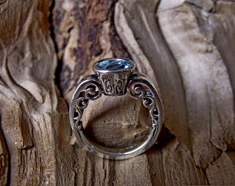 Sterling Silver Ring with Swiss Blue Topaz RF788