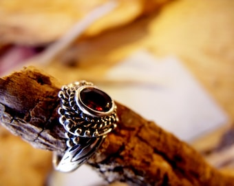 Sterling Silver ring with 6mm Garnet Stone  RF655