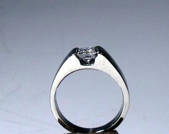 14K gold Suspended 1/2 Carat Princess Cut Diamond RF499