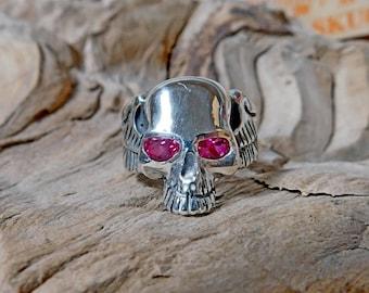 Skull Ring Sterling Silver Lab Created Ruby Biker RF992