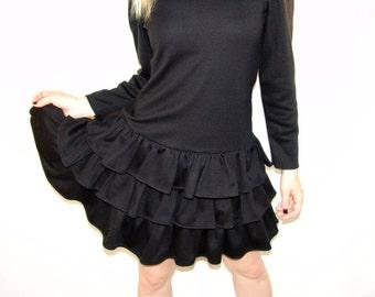 Vintage 80s Black Tier Dress