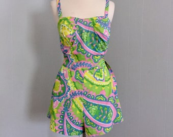1950s GaBar Swimsuit ~ Romper ~ Tag Size 16 (Medium Today) ~ Skirted Playsuit ~ Rockabilly ~ Bombshell ~ Psychedelic ~ Mid Century Swimwear