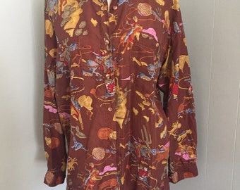 SALE! Cowboy Print Silk Blouse ~ Medium/Large ~ Brown, Turquoise