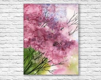 Abstract Sakura Japanese Tree Watercolor Painting, Cherry Blossom Bedroom Art.