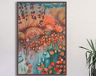 Colorful nature abstract landscape wall art, Autumn leaves canvas print or paper prints, Fall home decor burnt orange vertical artwork