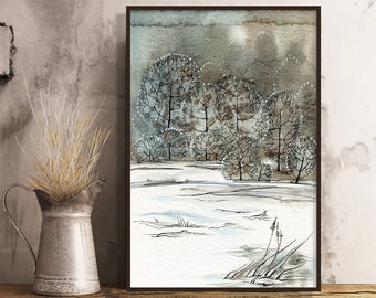Watercolor Soft Earth Colours, and Fine Line Trees Painting, Christmas Gift.