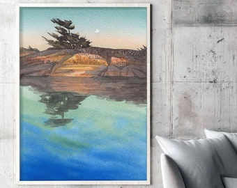Modern Coastal Georgian Bay  Green Blue Art Print, Lake Pine Tree Watercolor Landscape.
