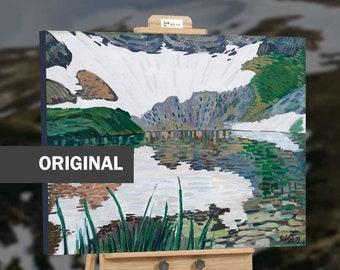 Mountain landscape lake decor original nature painting.
